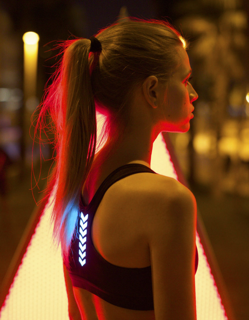 Washable Wearable Light merged in sports wear fabric.