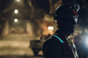 A miner at Boliden, Sweden, connected with a smart vest from Light Flex.